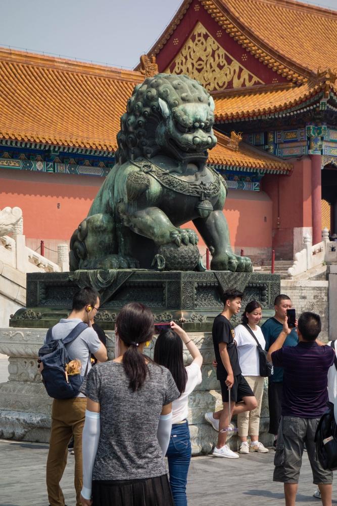 Chinesischer Löwe in der Verbotenen Stadt in Beijing / China