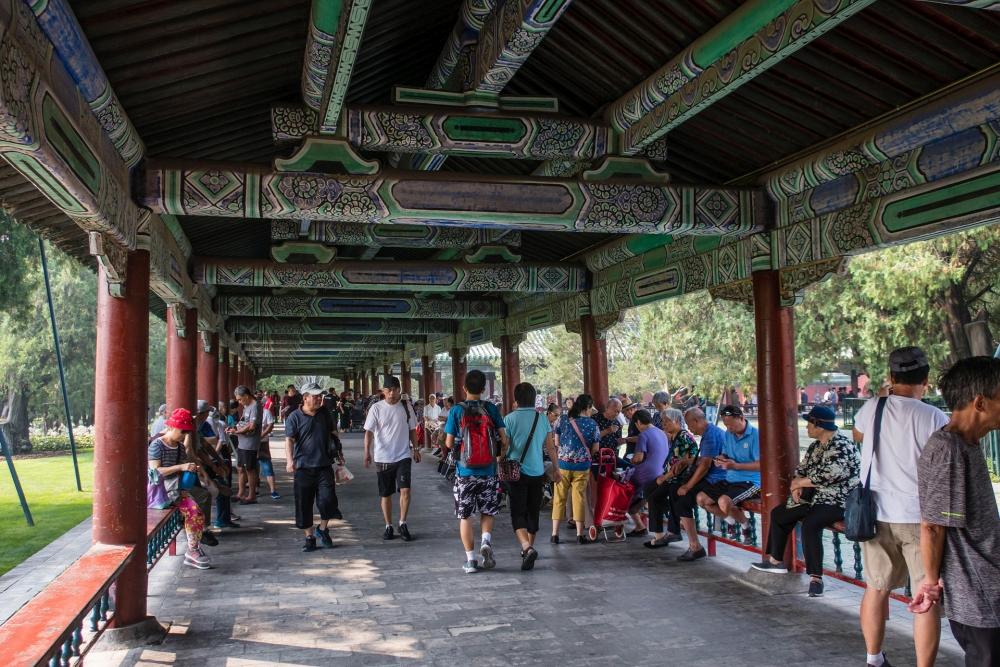 Langer Korridor im Tian Tan in Beijing / China