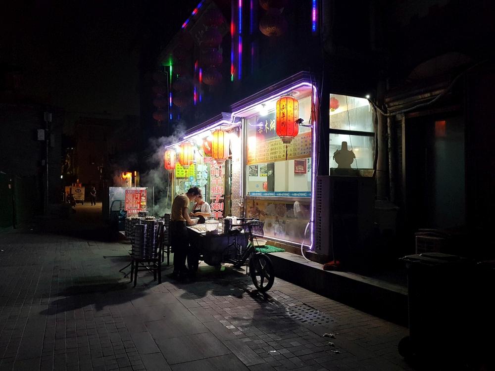 Zubereitung von Baozi morgens in Beijing / China