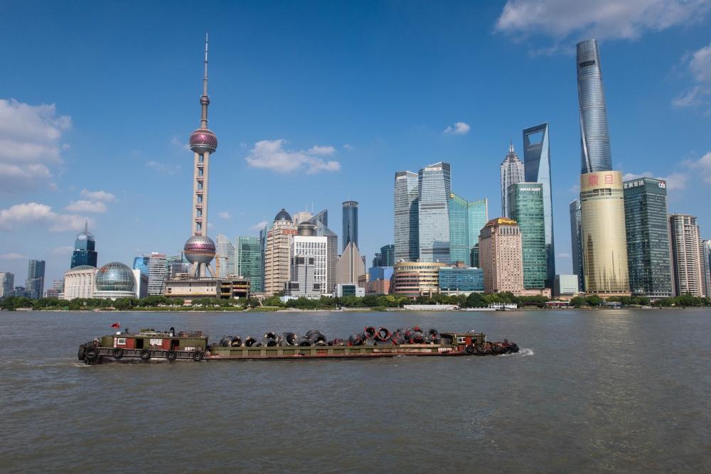 Skyline von Pudong in Shanghai / China