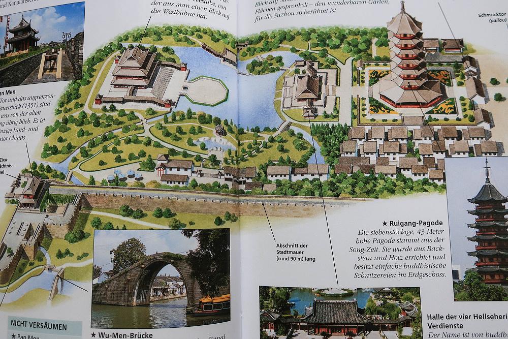 Übersichtsskizze des Pan Men Landschaftsparks in Suzhou / Jiangsu / China
