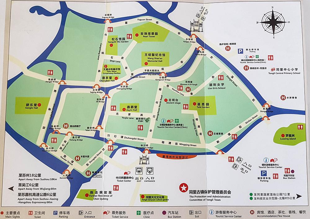 Übersichtsplan der Altstadt von Tongli / Jiangsu / China