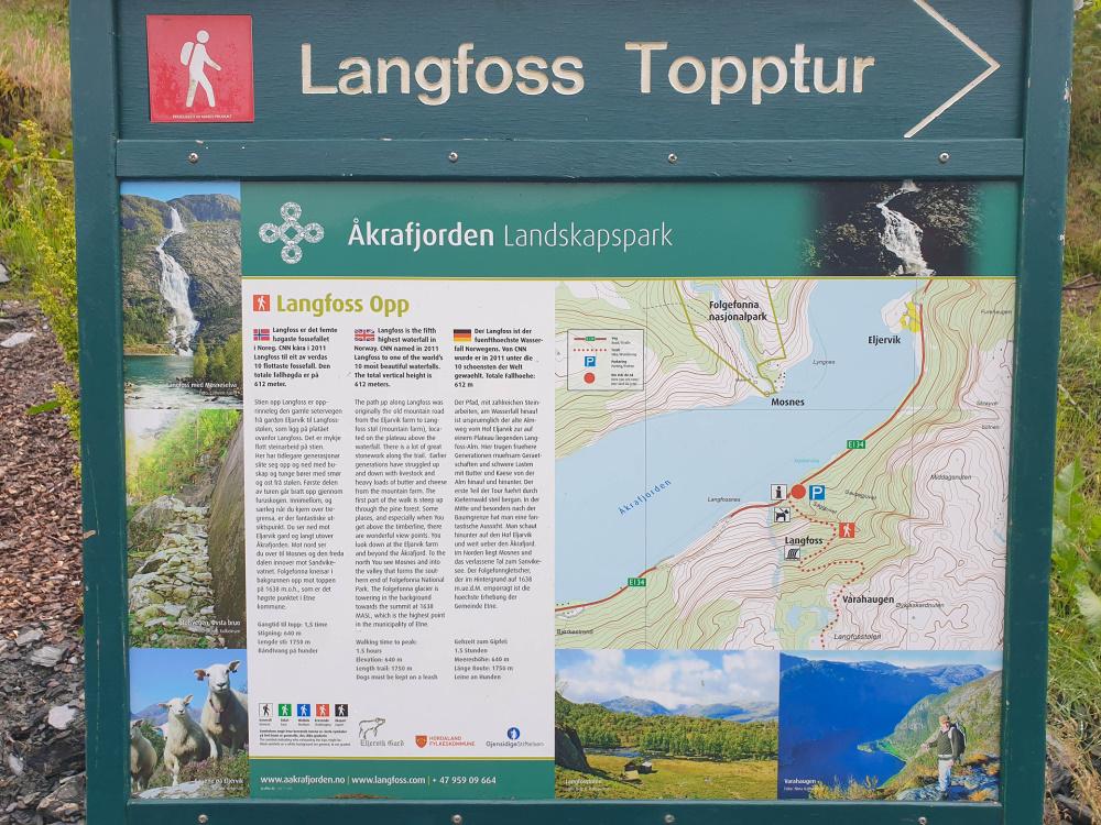Infotafel am Langfoss in Norwegen