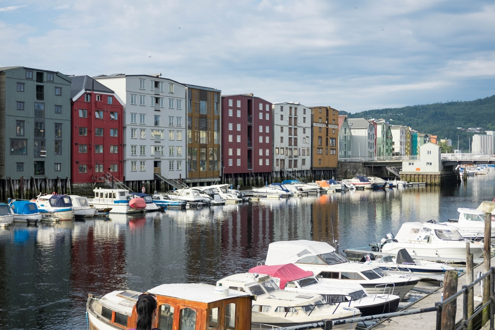 Speicherhäuser am Vestre Kanalhavn in Trondheim - Trøndelag in Norwegen