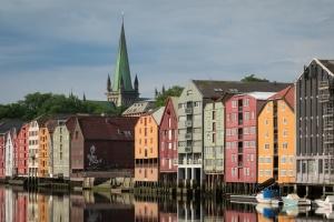 Speicherhäuser von Bryggene in Trondheim - Trøndelag in Norwegen