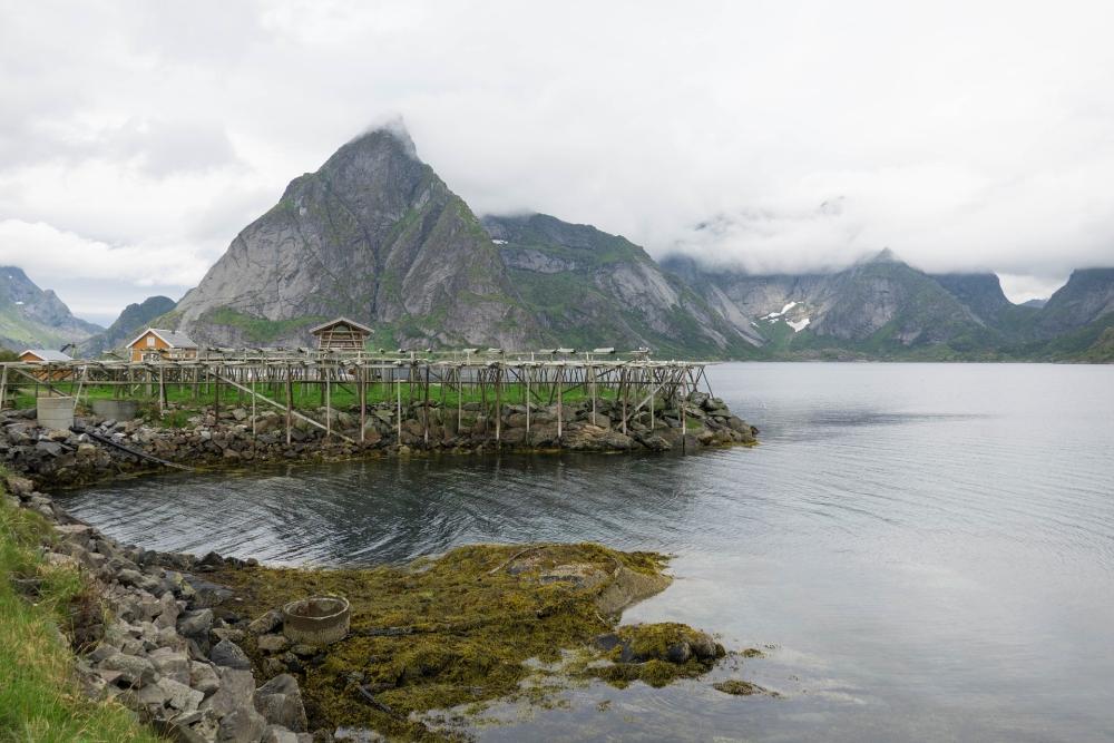 Fischerdorf Sakrisøy auf den Lofoten in Norwegen